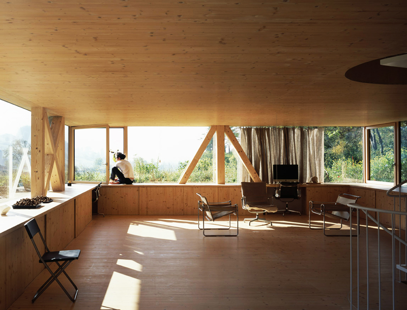 modern house with entire glassed wall in the forest (11)