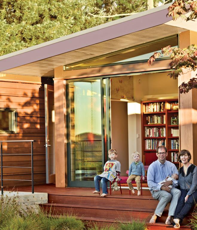 wooden modern house with water garden (1)