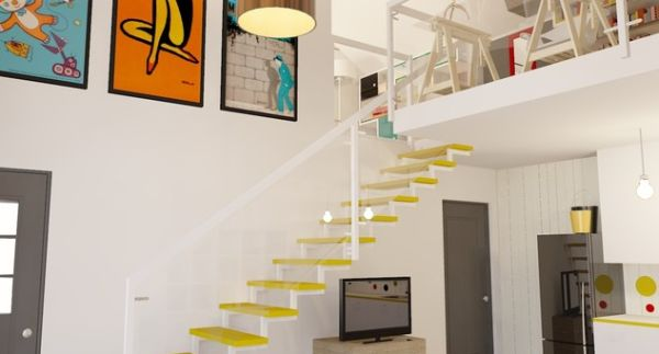 Colorful-floating-stairs-for-a-vivid-look