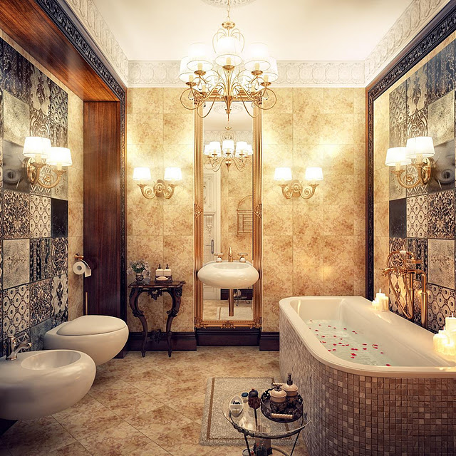 chandeliers-in-a-luxurious-bathroom