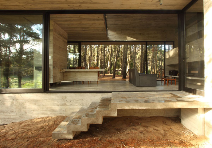 modern concrete house forest (13)