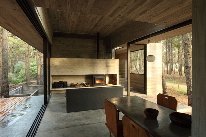 modern concrete house forest (16)
