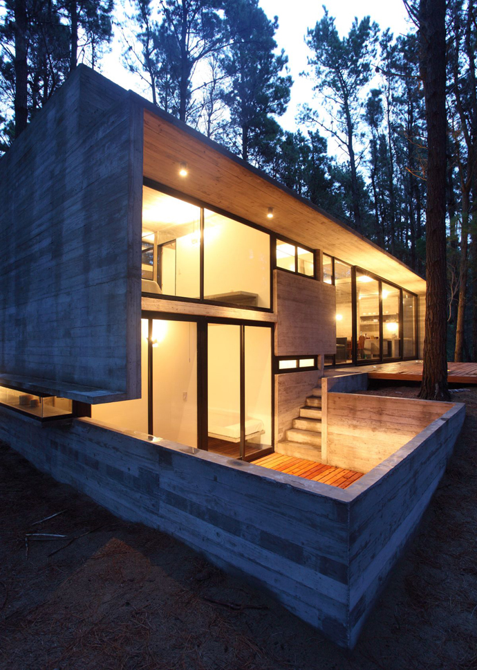 modern concrete house forest (2)