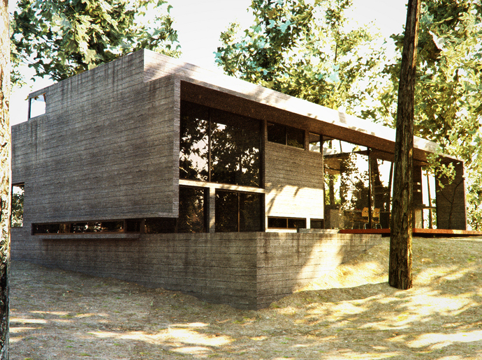 modern concrete house forest (7)