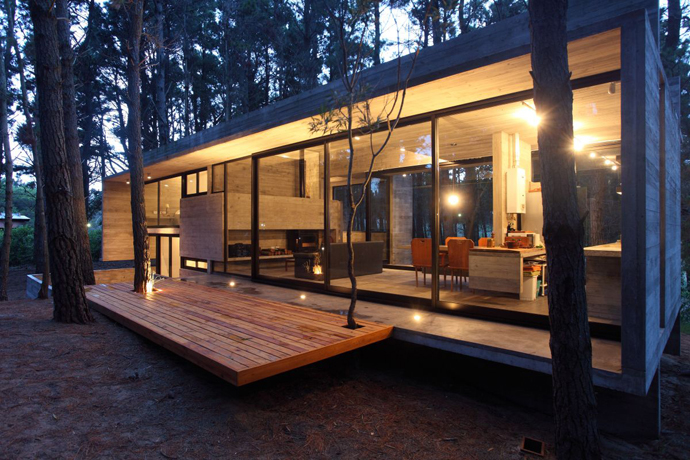 modern concrete house forest (8)