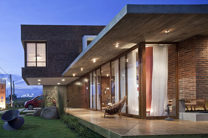 modern concrete brick glass house cool (11)