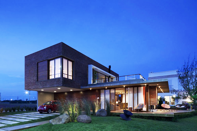 modern concrete brick glass house cool (13)