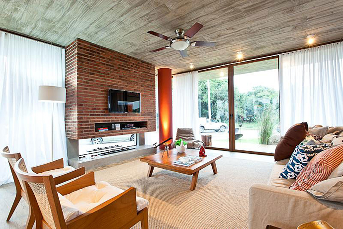 modern concrete brick glass house cool (17)