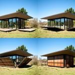 แบบบ้านชั้นเดียวหลังคาแบนสไตล์โมเดิร์น ผนังสามารถเปลี่ยนเป็นไม้หรือกระจกได้