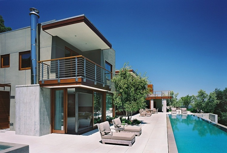modern large house swimming pool cool idea concrete glass wood (14)