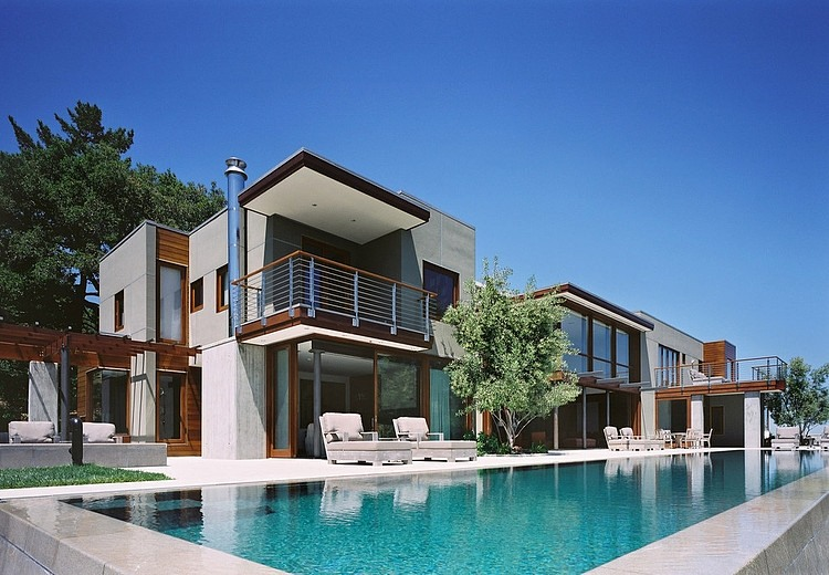 modern large house swimming pool cool idea concrete glass wood (3)