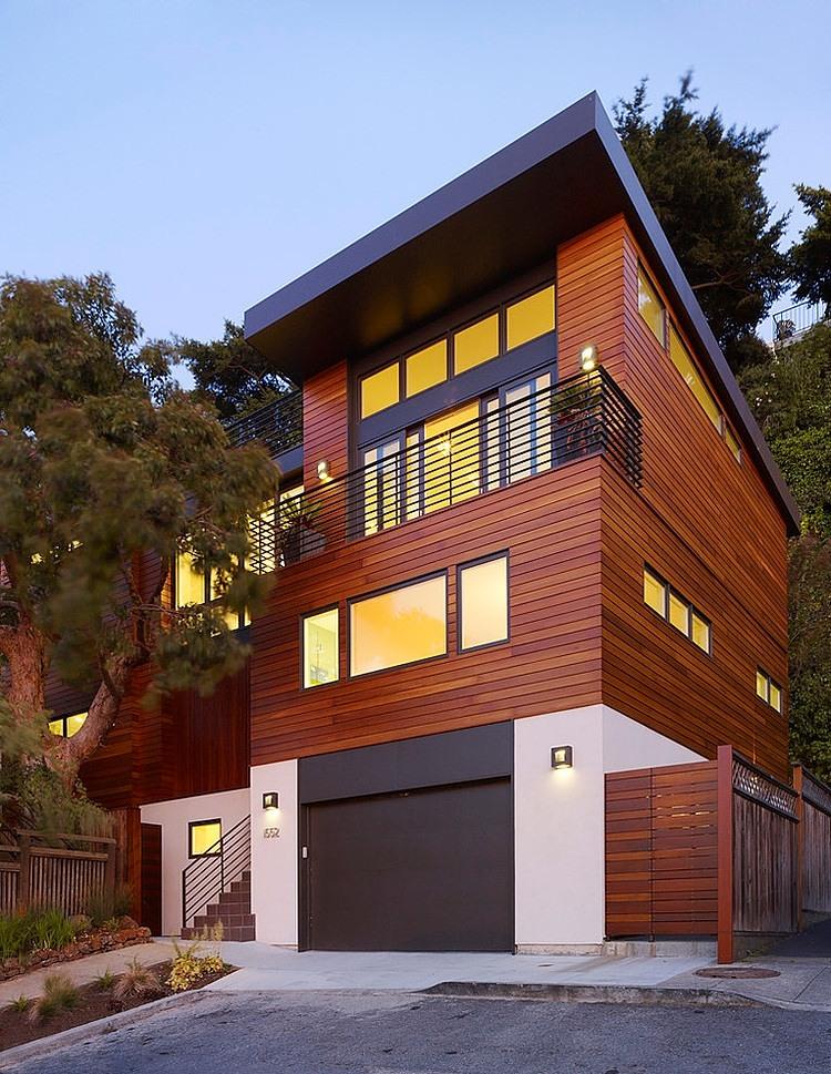 modern town house wood glass contemporary loft (2)