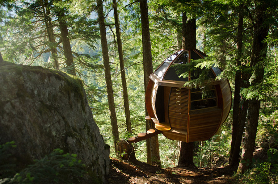 small wood treehouse canada (2)