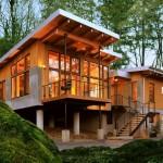 แบบบ้านสองชั้นแนวโมเดิร์น ออกแบบหลังคาทรงเพิงหมาแหงน ให้อารมณ์ธรรมชาติ