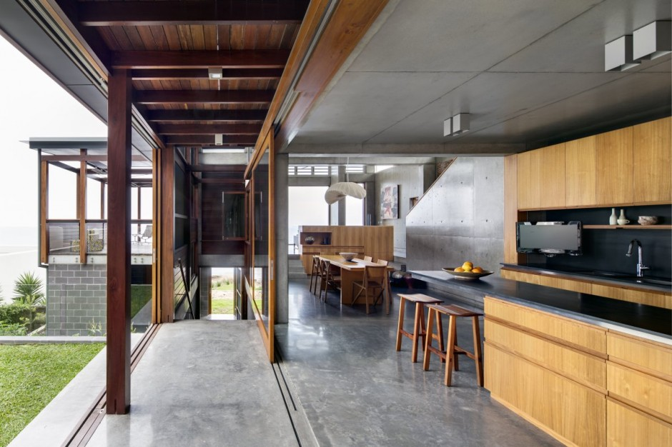 modern concrete wooden glass house vacation (5)