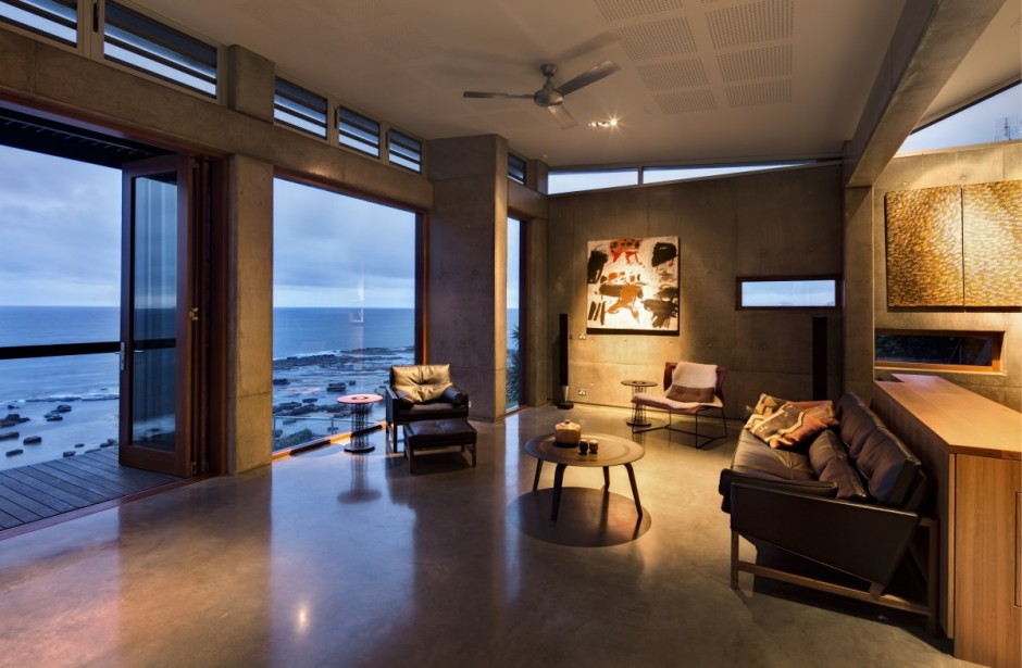 modern concrete wooden glass house vacation (9)