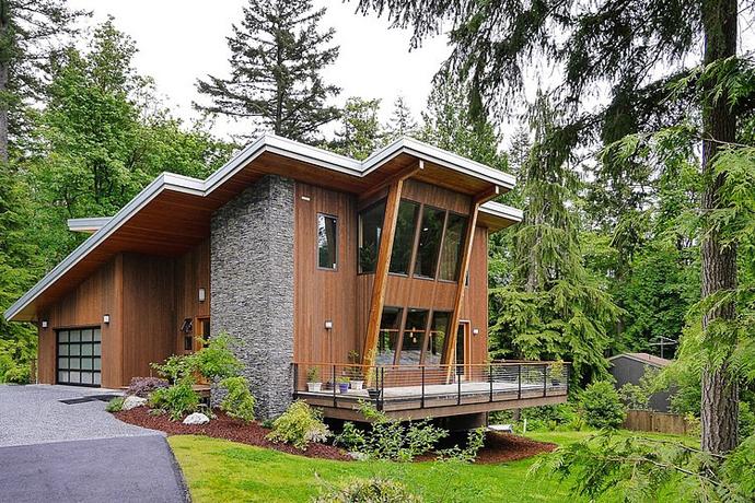 modern wooden house architecture concrete (3)