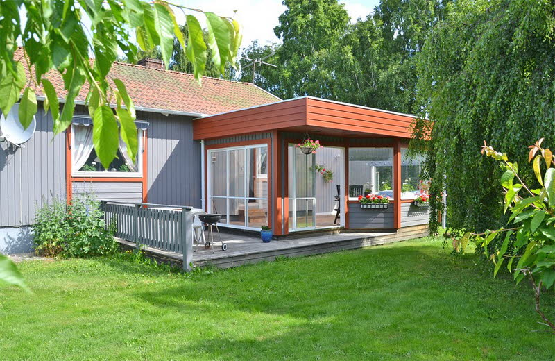 cottage modern house grey orange green nature lawn yard (15)