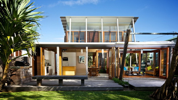 vacation wood glass house for environment (2)