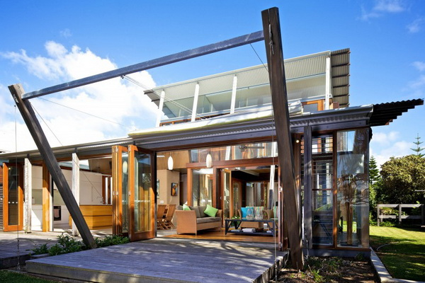 vacation wood glass house for environment (6)