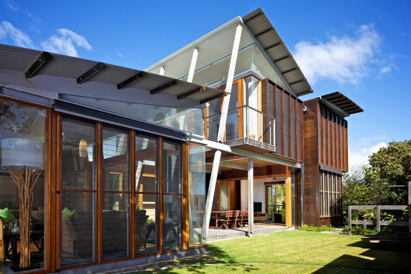 vacation wood glass house for environment (7)
