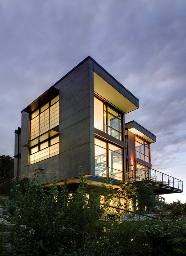 concrete glass modern house in forest (1)