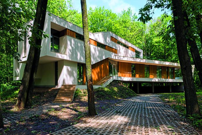 modern retro house in romania forest (3)