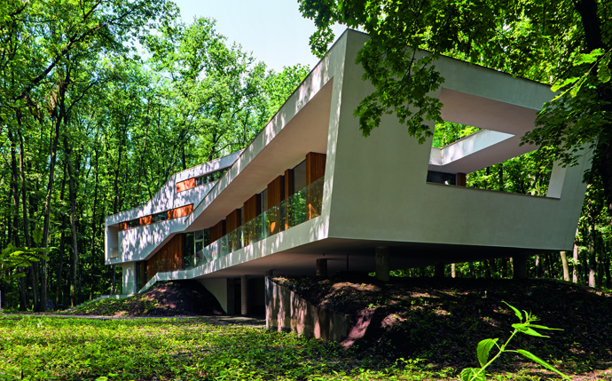 modern retro house in romania forest (9)