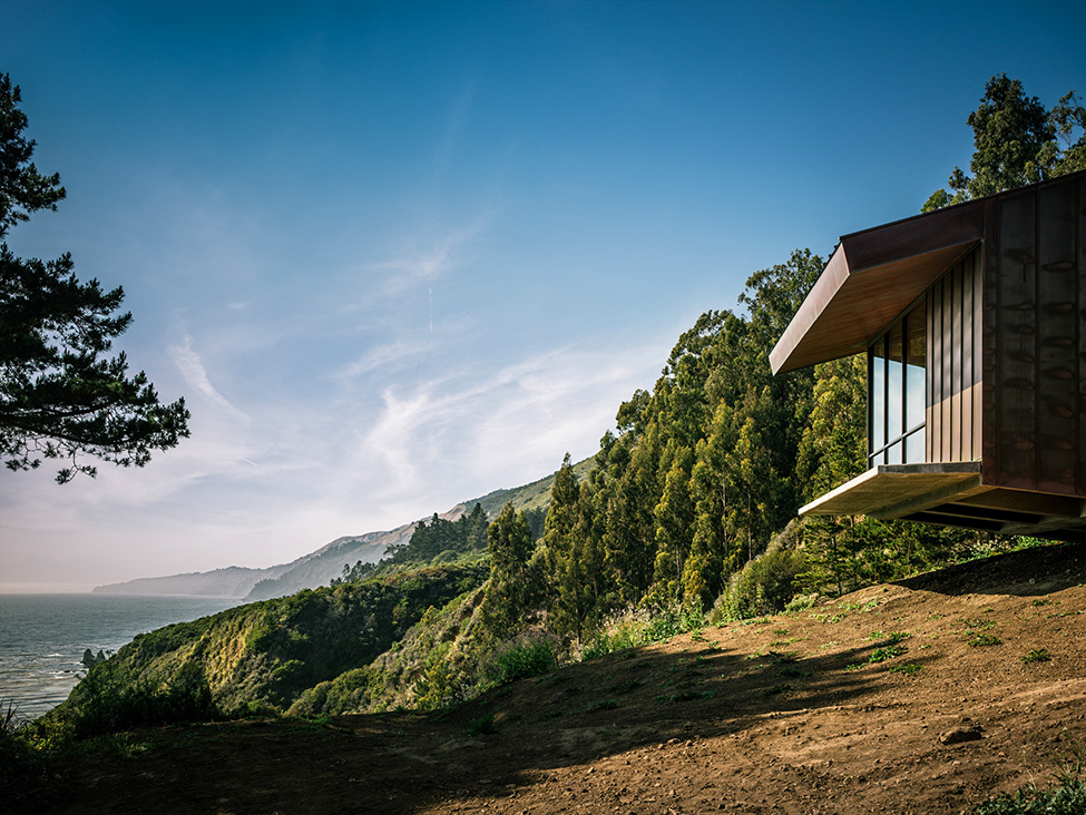 modern wood glass house cliff sea view (1)