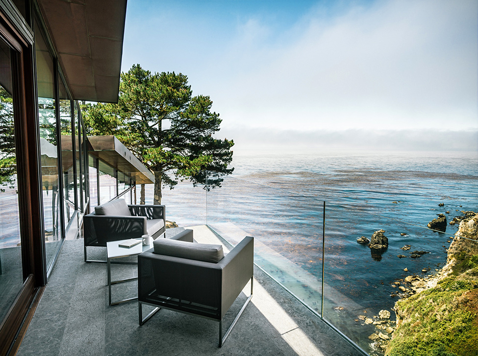 modern wood glass house cliff sea view (11)