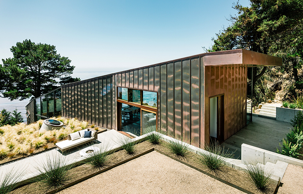 modern wood glass house cliff sea view (3)