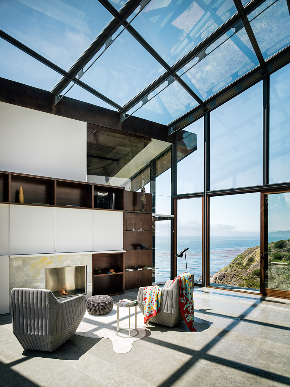 modern wood glass house cliff sea view (6)