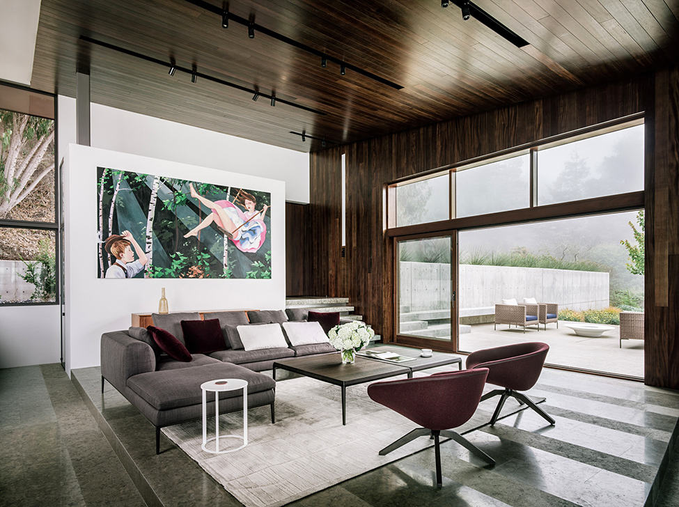 modern wood glass house cliff sea view (7)