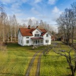 แบบบ้านสองชั้นสีขาวเด่น ล้อมรอบด้วยสนามหญ้าเขียว ในบรรยากาศชนบท