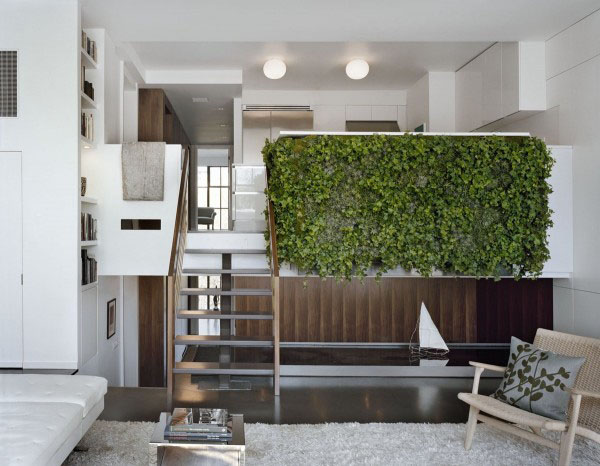 Mezzanine Indoor Vertical Gardens Modern Open Living Space