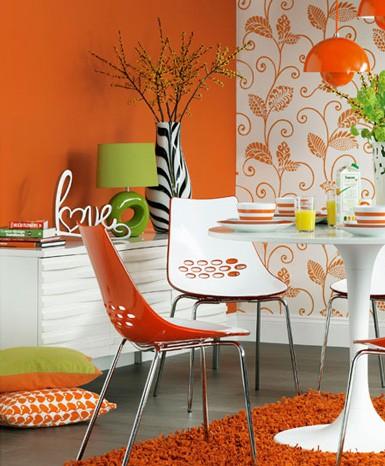 bright-orange-dining-room