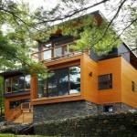 แบบบ้านไม้สไตล์โมเดิร์นร่วมสมัย สร้างอย่างสวยงามในบรรยากาศริมน้ำ