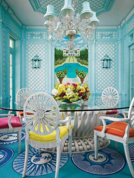 vibrant-light-blue-dining-area