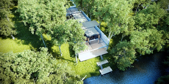 modern lake house in forest (17)