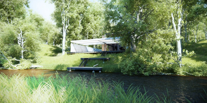 modern lake house in forest (18)