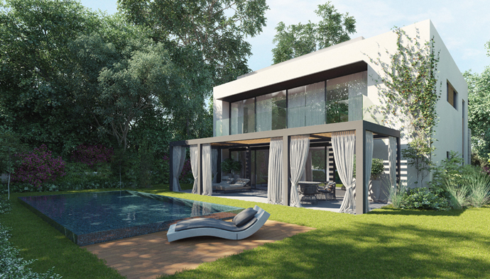 modern lake house in forest (2)