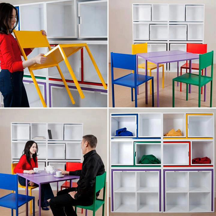 furniture save space table chair bookshelf (2)