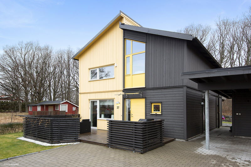 house in sweden wooden contemporary yellow black (22)