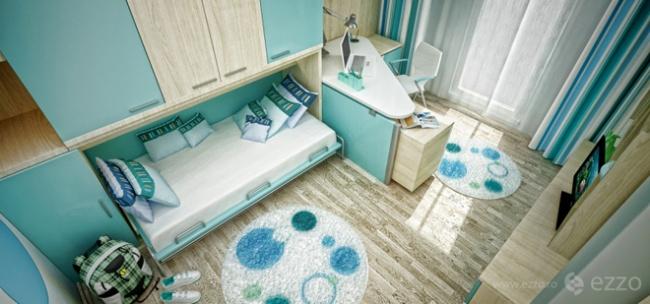 interior bedroom blue white wood (1)