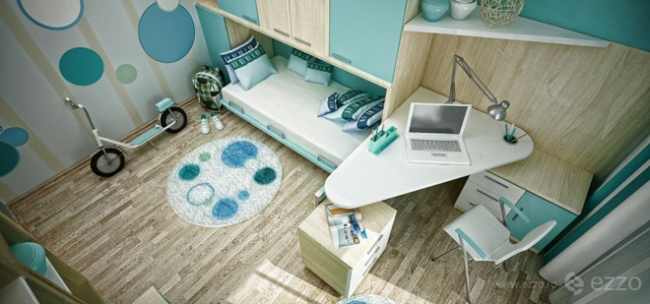 interior bedroom blue white wood (2)