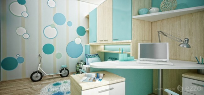 interior bedroom blue white wood (3)