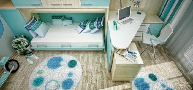 interior bedroom blue white wood (4)