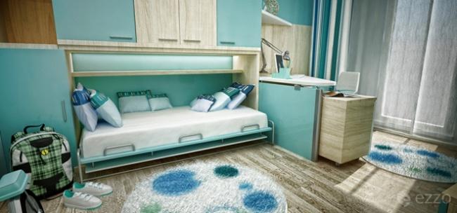 interior bedroom blue white wood (5)