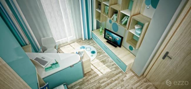 interior bedroom blue white wood (6)