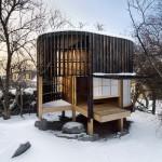 บ้านกระท่อมหลังเล็กทรงกระบอก ผสมผสานศิลปะสไตล์ญี่ปุ่น ไว้เป็นที่พักผ่อนหย่อนใจ